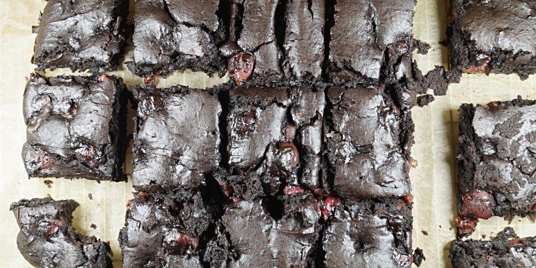 Vegan Cherry Brownie Cake