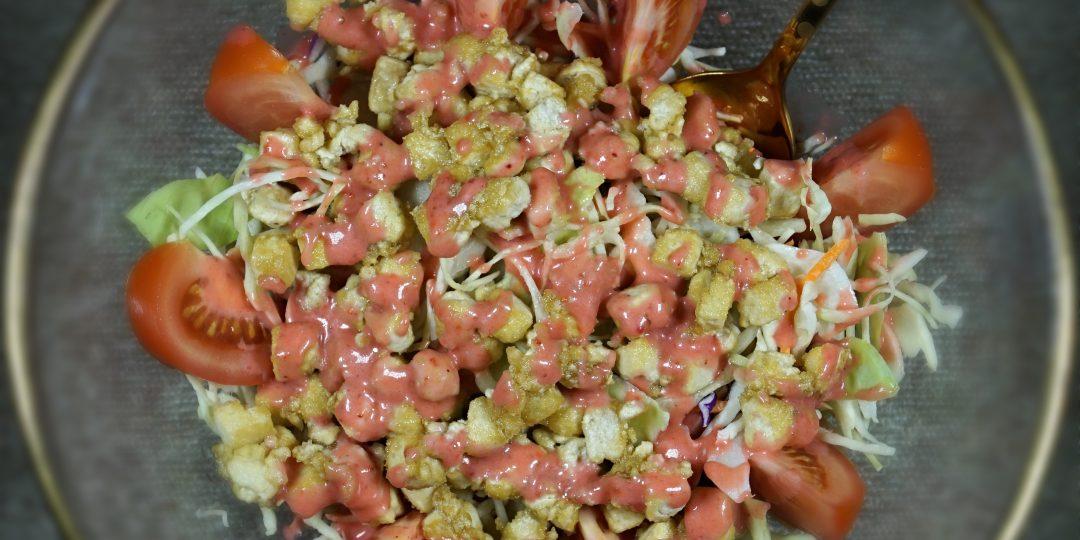 Refreshing Crispy Tofu Salad with Strawberry Vinaigrette