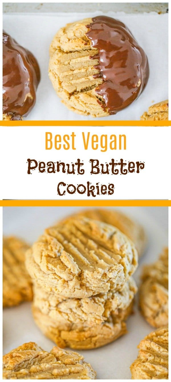 Easy Vegan Peanut Butter Cookies - You won\'t be able to resist these soft Vegan Peanut Butter Cookies! They are not only thick and chewy delicious, they\'re also packed full of peanut butter flavor! #peanutbuttercookies #veganpeanutbuttercookies #vegandesserts #holidaycookies #vegancookies