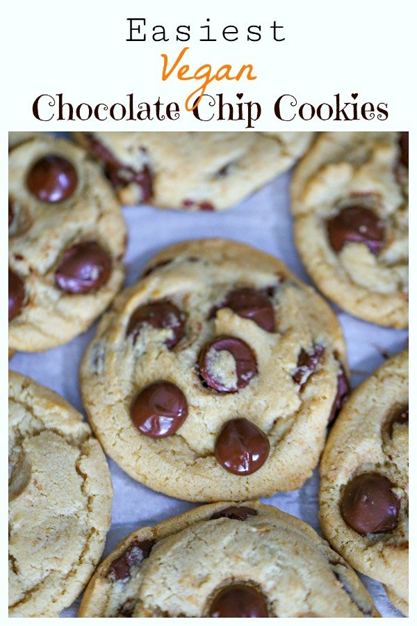 \'Perfect\' Vegan Chocolate Chip Cookies - These perfect vegan cookies are delicious, chewy and chocked full of chocolate chips. Absolutely divine and veganized for plant-based cookie lovers! #vegancookies #veganchocolatechip #plantbasedcookies #chocolate #veganbaking #bestvegancookies